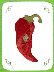 Iris Folding Chili Pepper - 1 pattern & 2 die cuts
